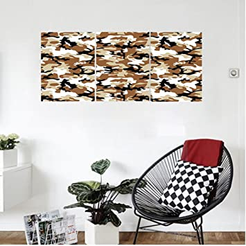 Liguo88 Custom Canvas Camouflage Abstract Army Military Style In Various  Shades Of Brown Pattern Wall Hanging