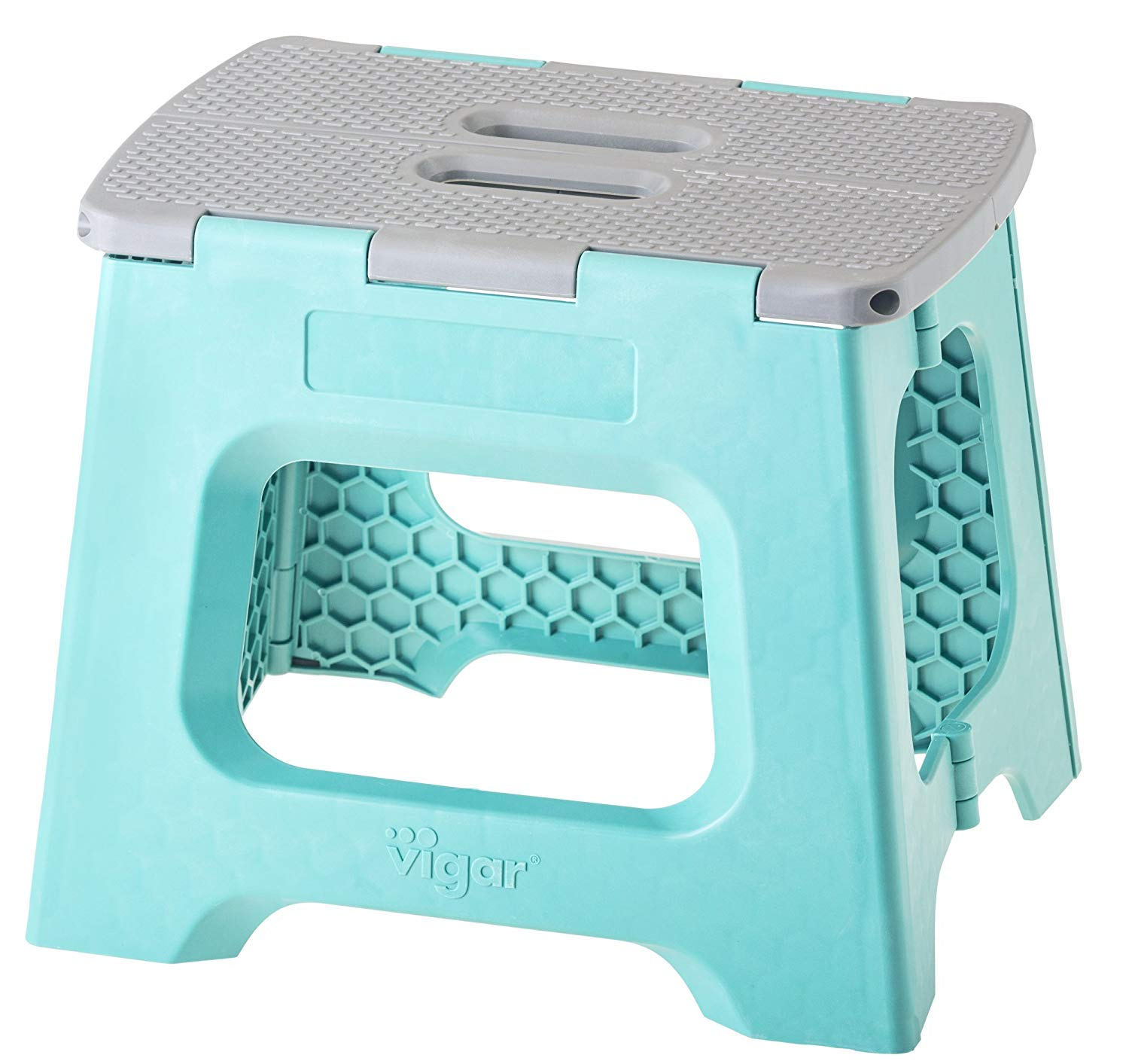 Vigar Compact Foldable Stool, 11 inches, Lightweight, 330-pound Capacity Non-Slip Folding Step Stool for Kids and Adults, Turquoise