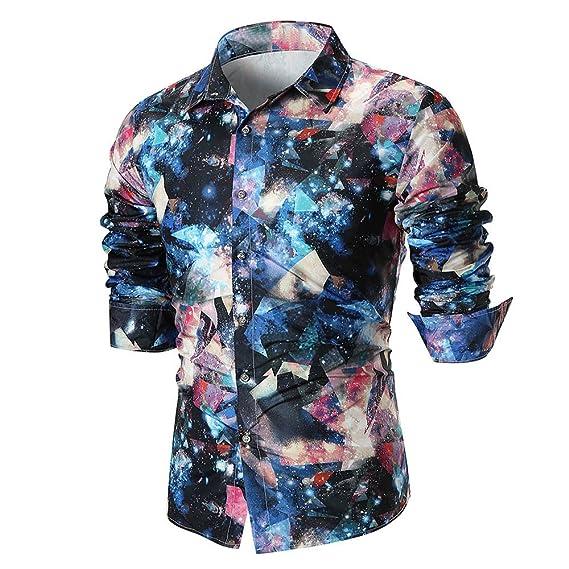 OHQ_Camisa Hombre Blusa Verano Moda 2018 Personalidad Casual Manga Larga Camisa Estampada Top Blusa AlgodóN Pantalones