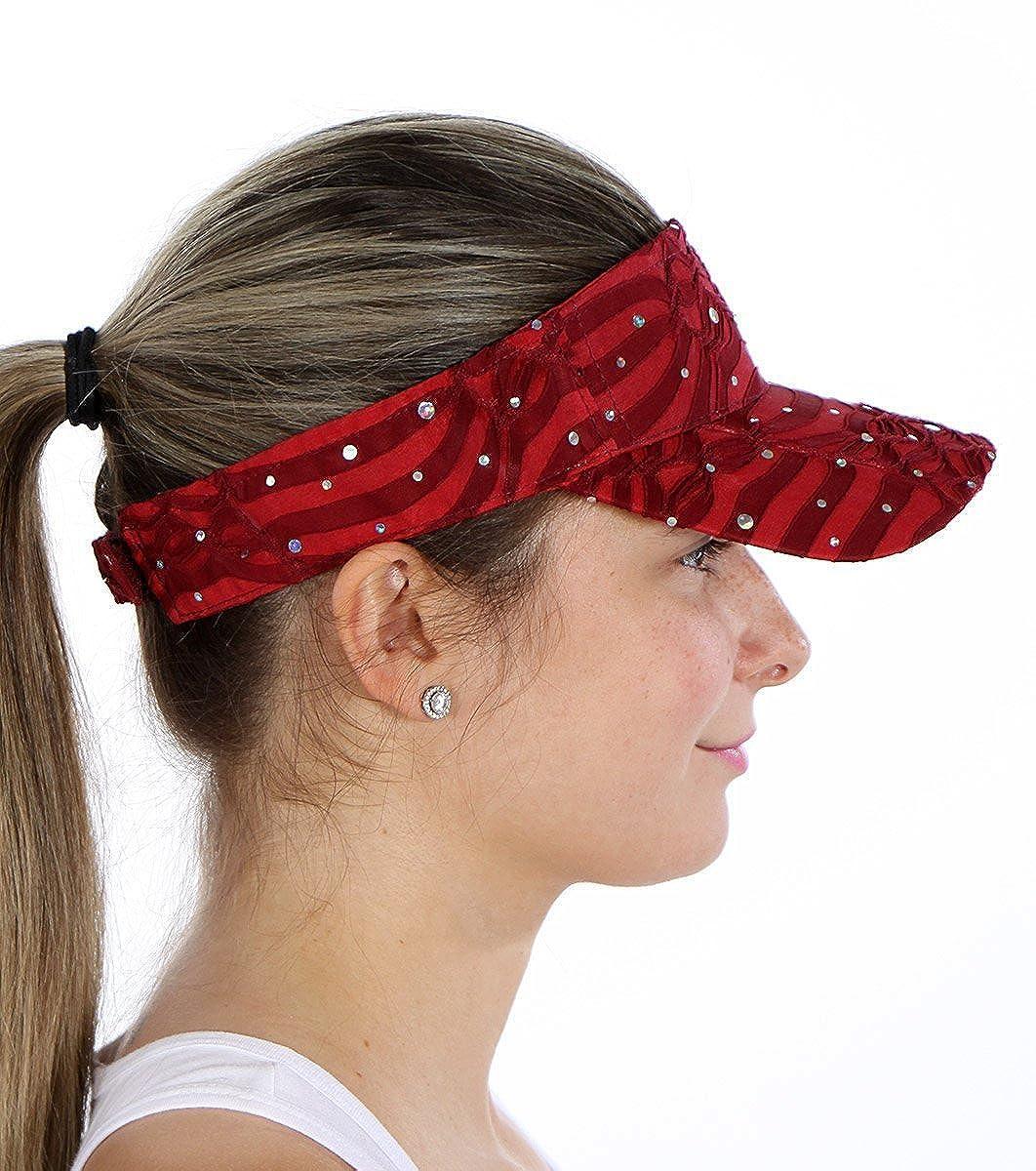 Sun Visor Hat, Wide Brim Headband, Outdoor Sports, Sequined, Adjustable Velcroat, SPF UPF UV Black