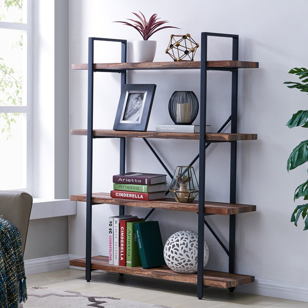 Homissue 4-Tier Industrial Style Bookshelf, Wood and Metal Bookcases Furniture for Collection, Retro Brown by Homissue