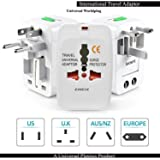 Keekos Universal Travel Adapter with Built in Dual USB Charger Ports with 125V 6A, 250V Surge/Spike Protected Electrical Plug (White)