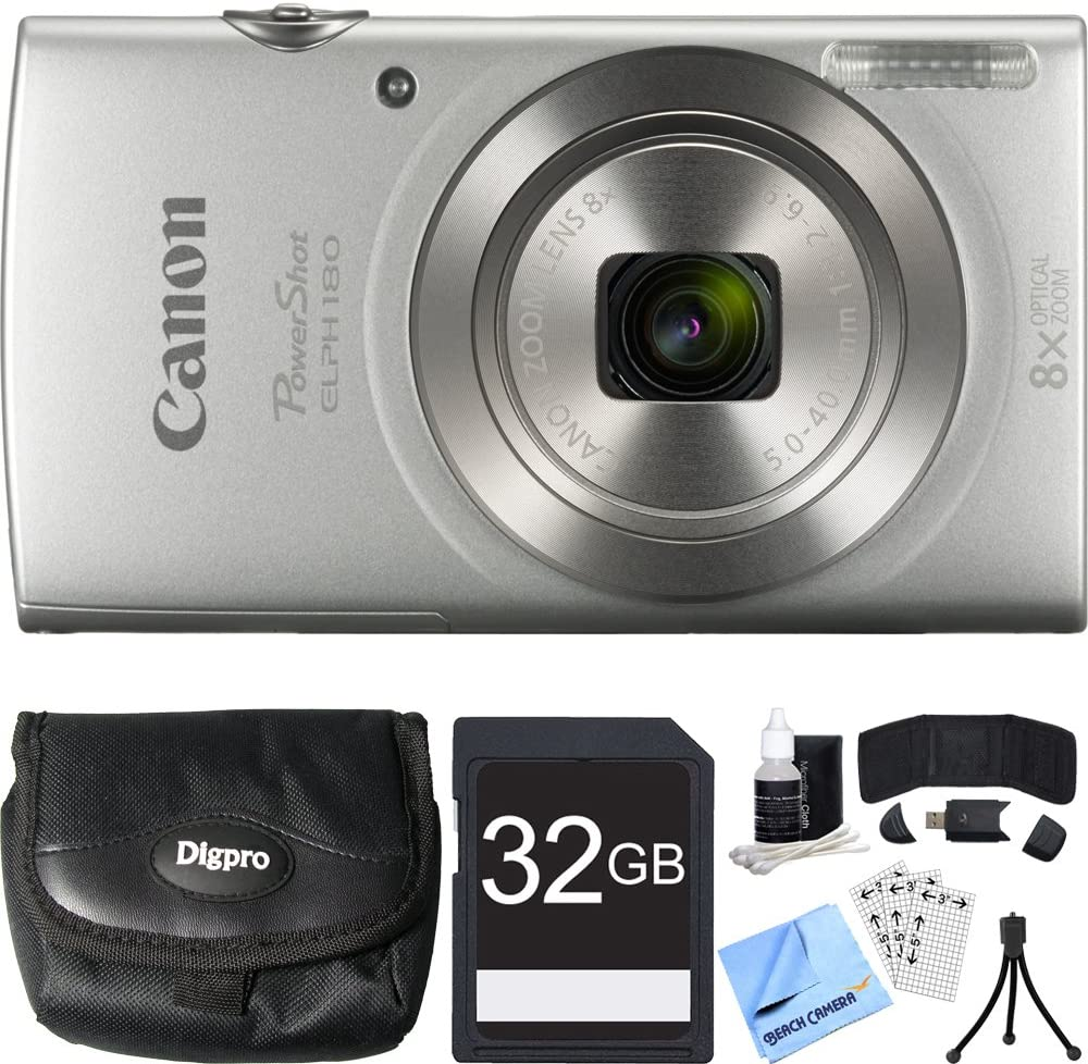 Canon PowerShot ELPH 180 20MP 8X Optical Zoom HD Video Silver Digital Camera Bundle with 32GB SDHC High Speed Memory Card, Point and Shoot Field Bag, Table-top Tripod and Accessories (5 Items)