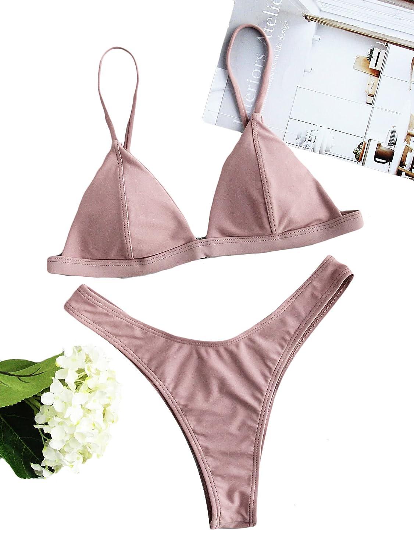 SOLYHUX Mujer Traje de Baño 2019 Bikini Vestido de Playa Set Bikinis En Triángulo con Detalle De Costura, Tamaño S-L