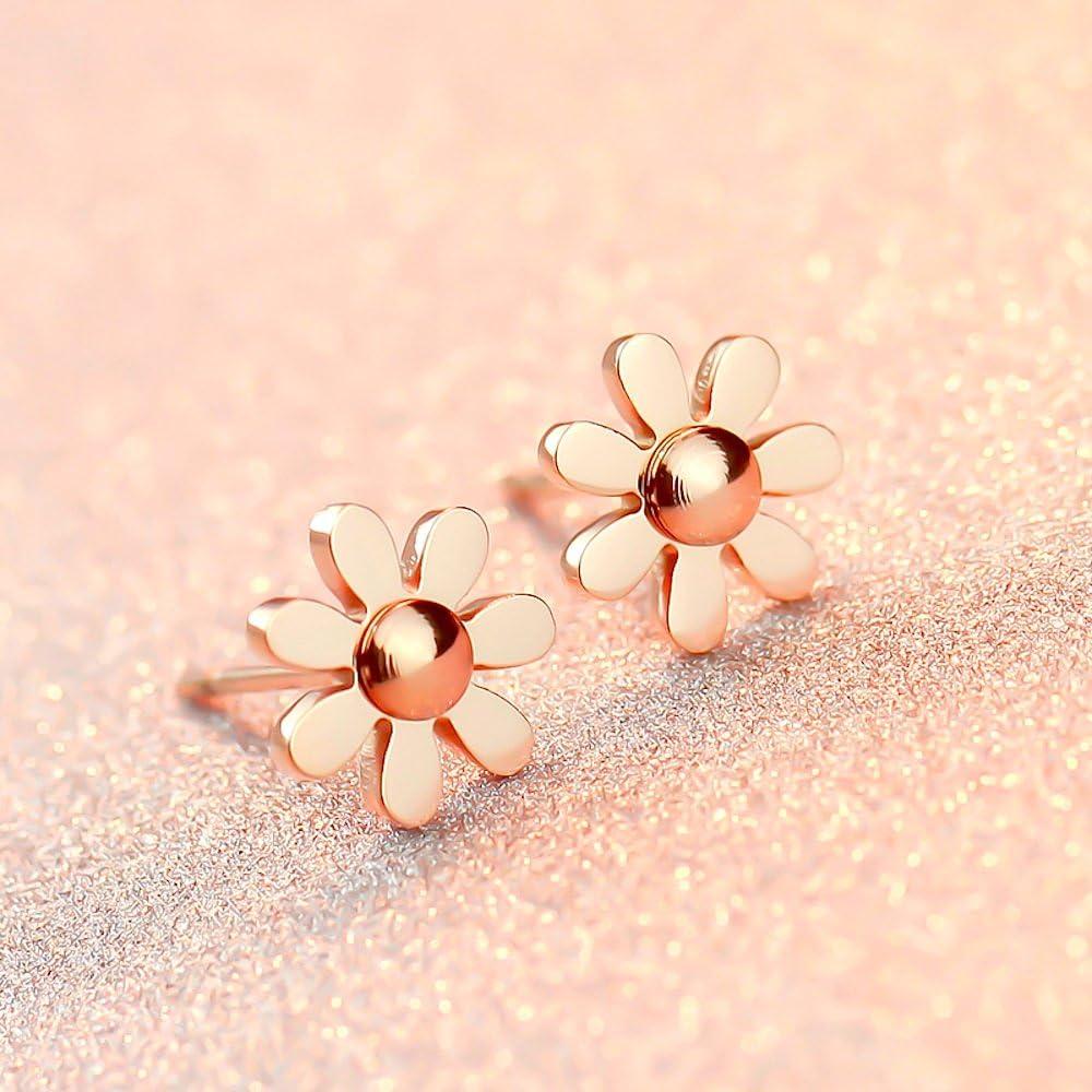 Kim JOHANSON acier inoxydable bijoux femme Set Daisy marguerites Collier avec pendentif /& Boucles doreilles en or rose avec pochette