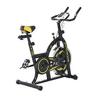 Homcom Vélo d'appartement Fitness Professionnel Cardio vélo Biking capteur pouls Volant d'inertie 10 Kg écran LCD Noir et Jaune Neuf 20