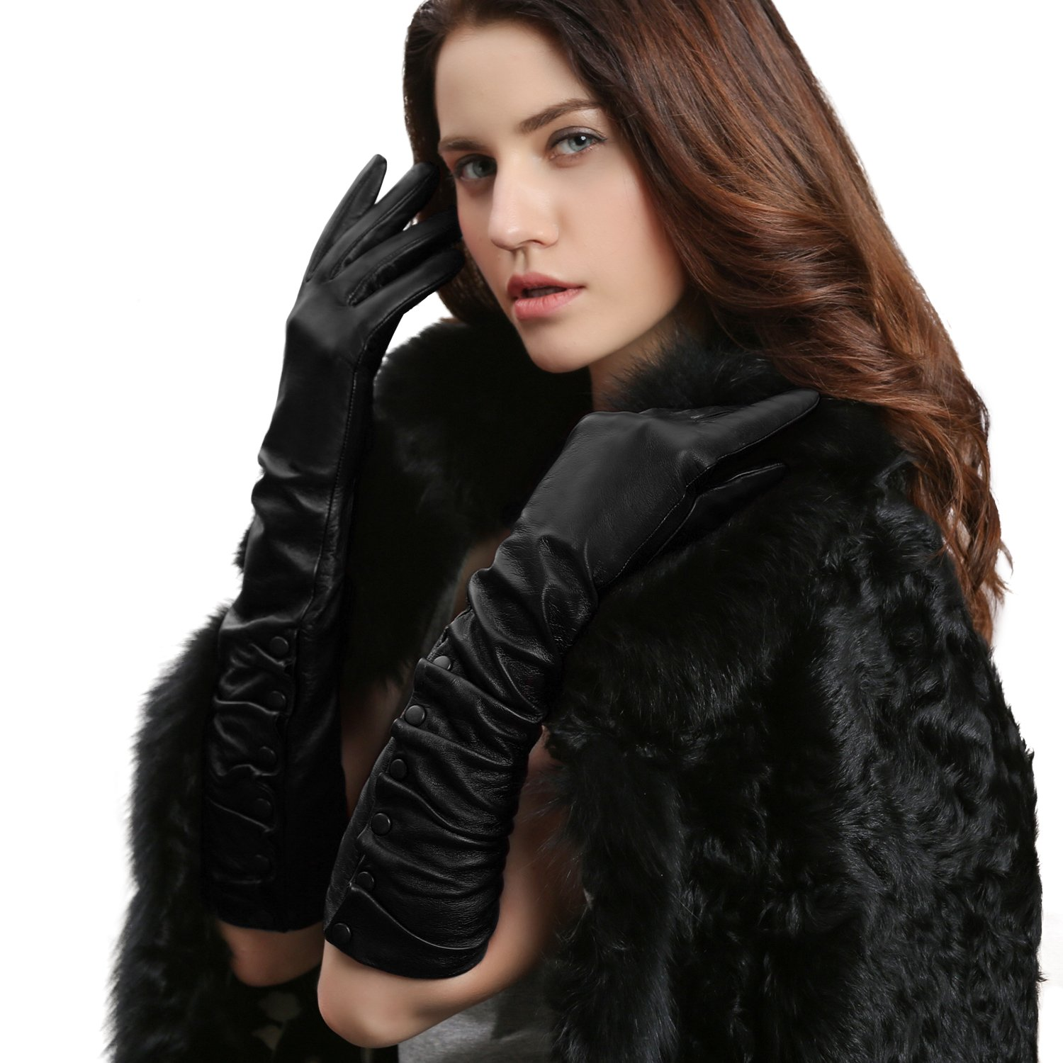 GSG Ladies Stylish Winter Warm Genuine Leather Elbow Gloves Arm Warmer Dress Gloves Womens Party Evening Accessory Nice Gifts Black 7.5