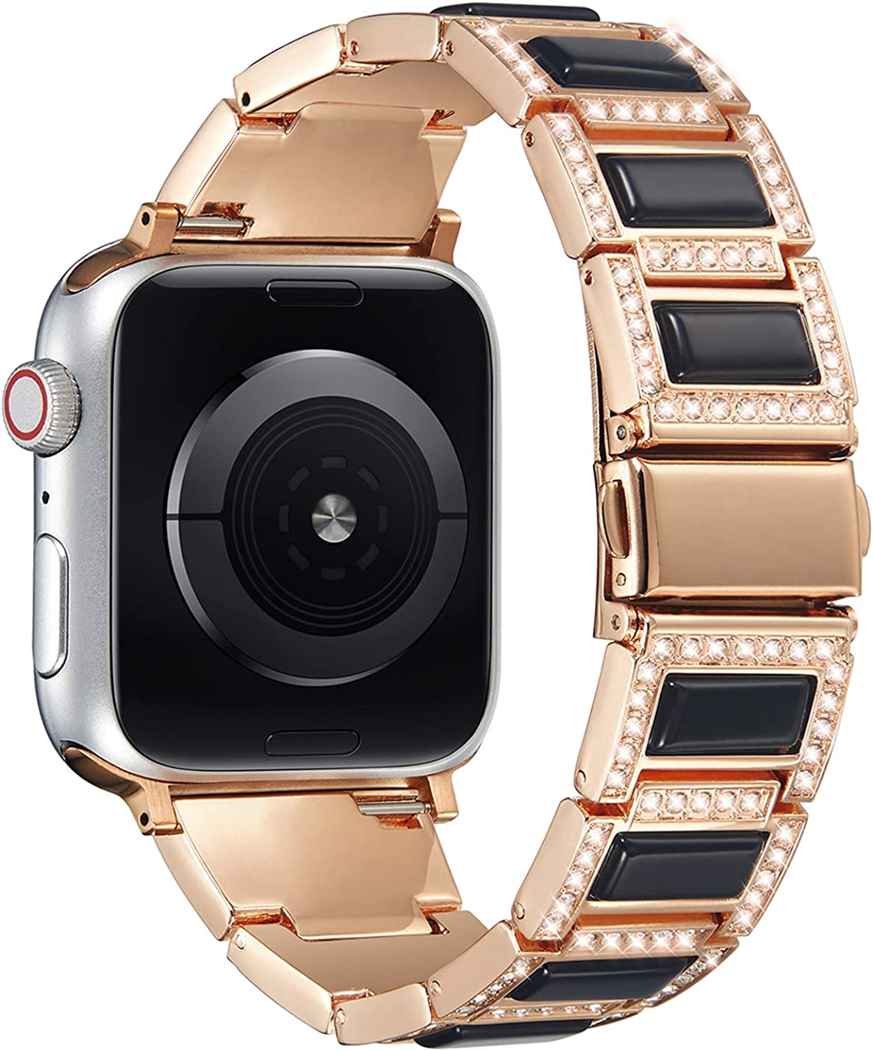 PROATL Bling Metal Strap Band Compatible with Apple Watch Band 44mm 42mm 40mm 38mm, Stainless Steel and Opal Diamond Rhinestone Business Wristband Bracelet Replacement for iWatch Series SE 6 5 4 3 2 1