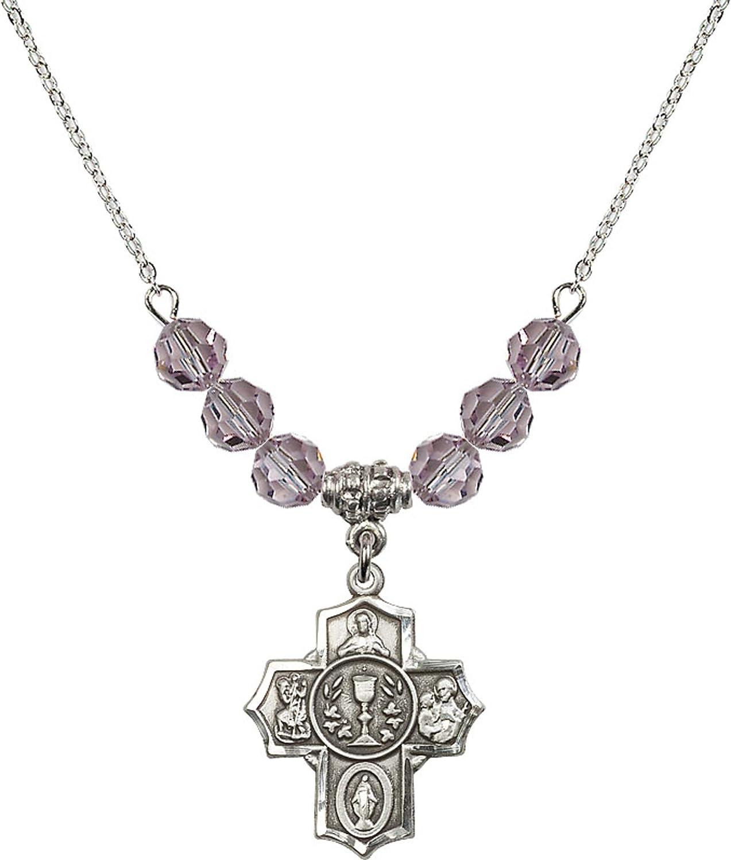 Bonyak Jewelry 18 Inch Rhodium Plated Necklace w// 6mm Light Purple February Birth Month Stone Beads and Communion//5-Way Charm