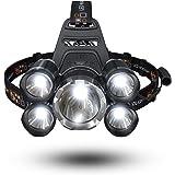 FightingGirl Waterproof 1000 Lumen 5 Led Headlamp XML T6+4Q5 Head Lamp Powerful Led Headlight, Rechargeable Flashlight Head Lights for Camping, Hiking