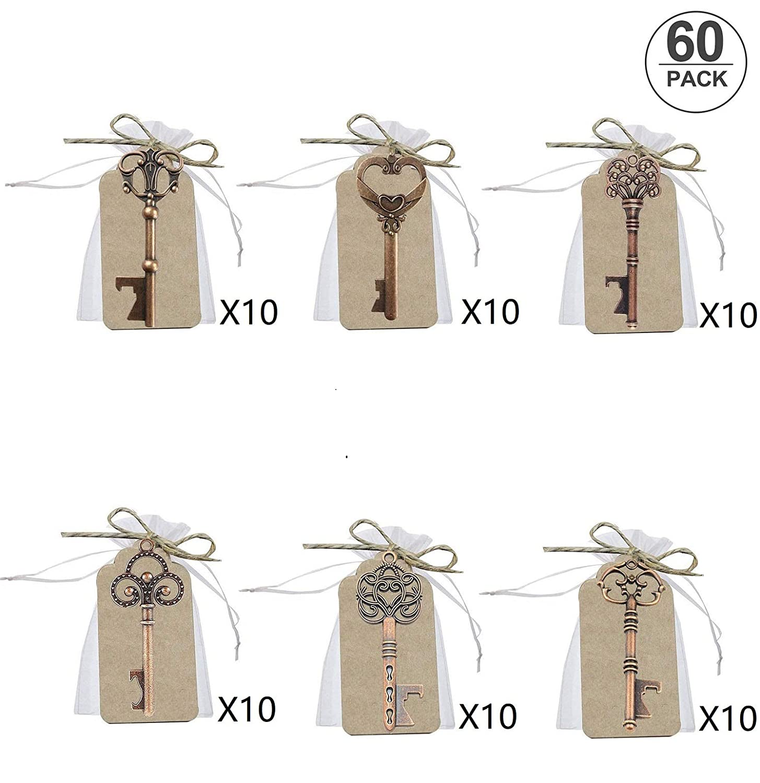 60 pcs Llave Abrebotellas de Boda, Llaves de Esqueleto Favores de Abrebotellas con Bolsas de Organza Blancas y Tarjeta de Etiqueta, Estilo Vintage, 6 ...