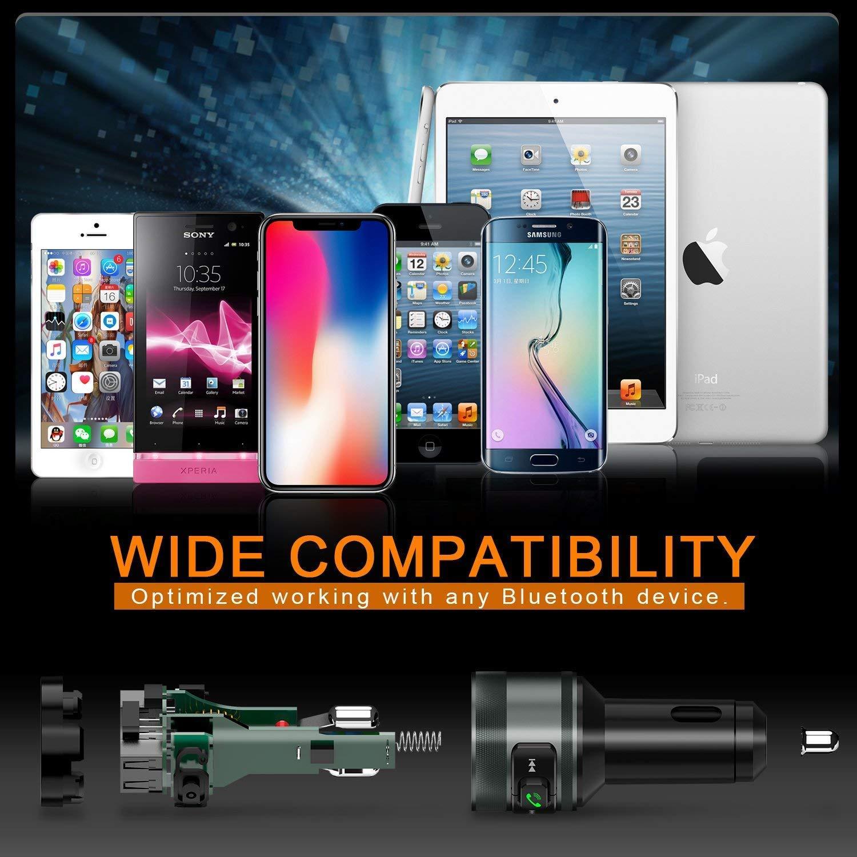 Vorstik QC3.0 USB Chargeur de Voiture Sans Fil Mains Libre Adaptateur Radio Double cl/é USB /& Chargeur avec /Écran LED pour appareils iOS et Android Transmetteur FM Bluetooth Adaptateur