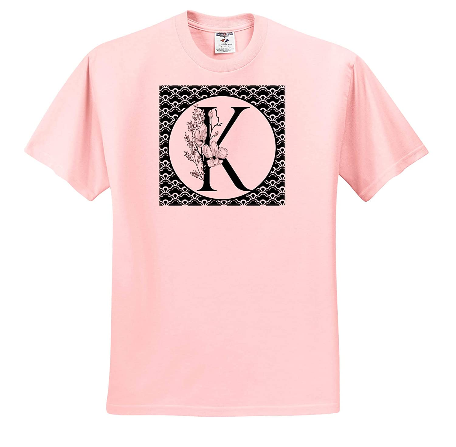 ts/_318036 Black and White Floral Monogram K On Fancy Scallops Adult T-Shirt XL Monograms 3dRose Anne Marie Baugh