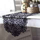 OurWarm 80 x 20 Inch Halloween Table Runner, Black Spider Web Tablecloth Polyester Lace Table Runner for Halloween…