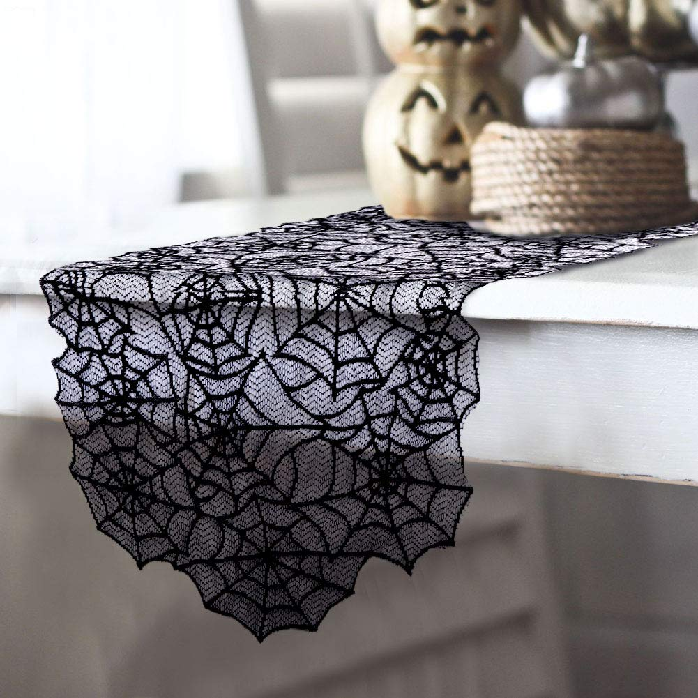 "AerWo 20""×80"" Polyester Lace Halloween Table Runner, Large Black Spider Web Table Runner for Halloween Dinner Parties and Scary Movie Nights Table Decoration"