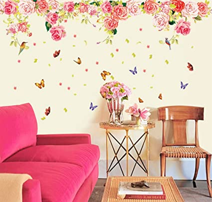 Attirant Ufengke® Beautiful Roses And Butterflies Wall Decals, Living Room Bedroom Removable  Wall Stickers Murals