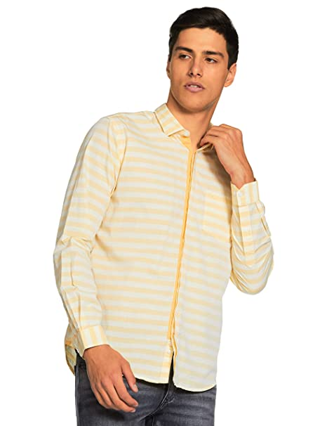 f4e191ddb1 Park Avenue Yellow Slim Cotton Casual Shirts  Amazon.in  Clothing    Accessories