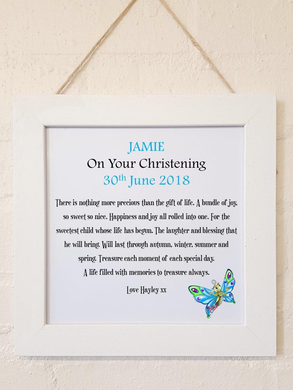 Personalised Framed Christening Poem Blue Personalised Details