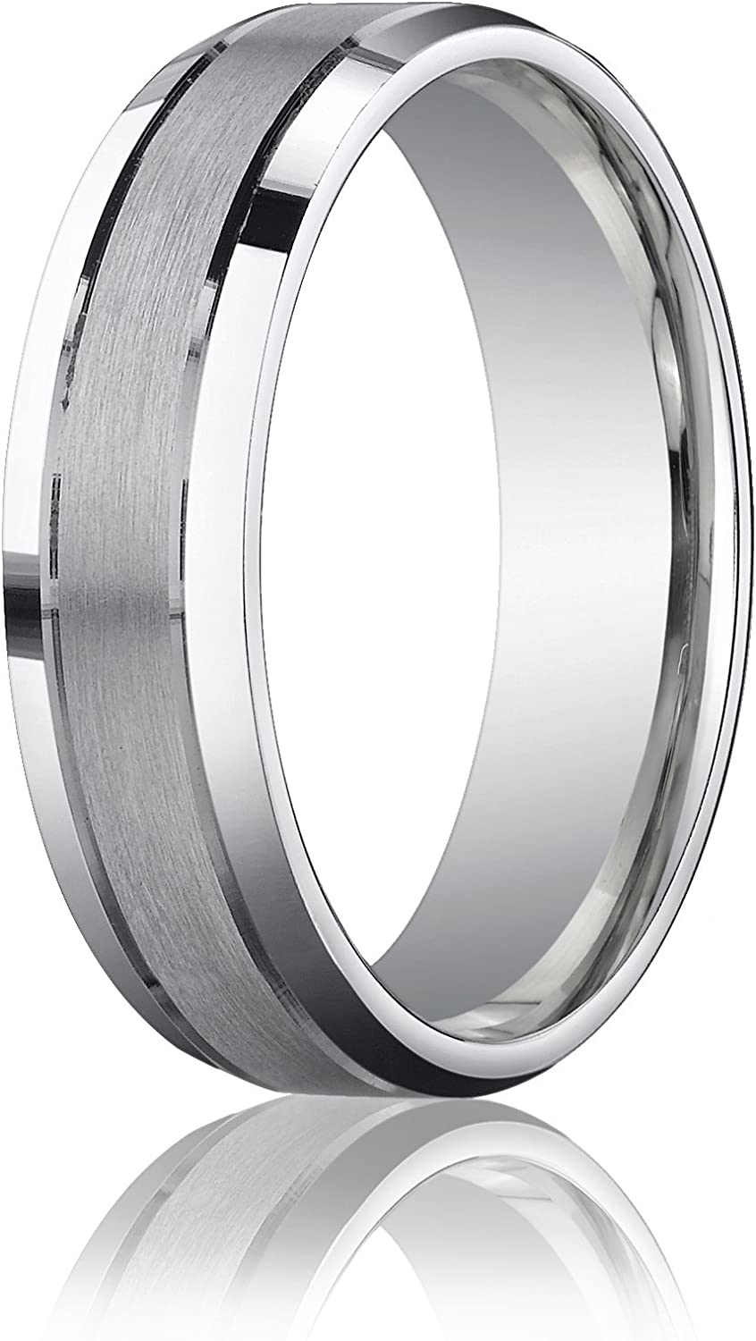 Mens 10K White Gold 6mm Comfort Fit Satin Inlay Polished Edge Wedding Band Ring
