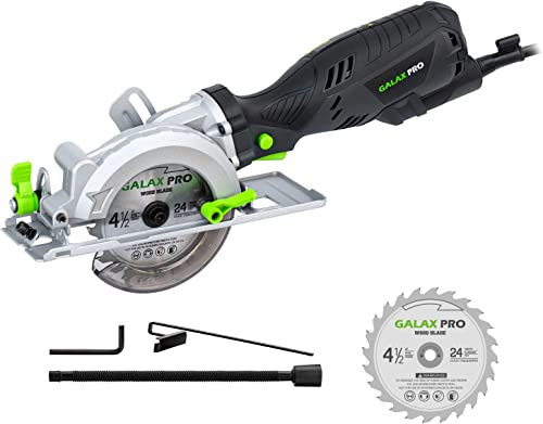 Circular Saw, GALAX PRO 5.8Amp 3500RPM Mini Circular Saw, Max. Cutting Depth1-11 16 90 ,1-1 8 45 Compact Saw with 4-1 2 24T TCT Blade, Vacuum Adapter, Blade Wrench, and Rip Guide