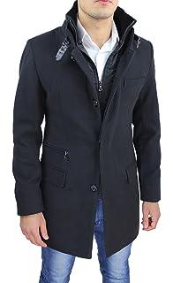 Cappotto Uomo Nero Sartoriale Slim Fit Giaccone Soprabito Invernale Casual  Elegante con Gilet Interno 179e0307a8e