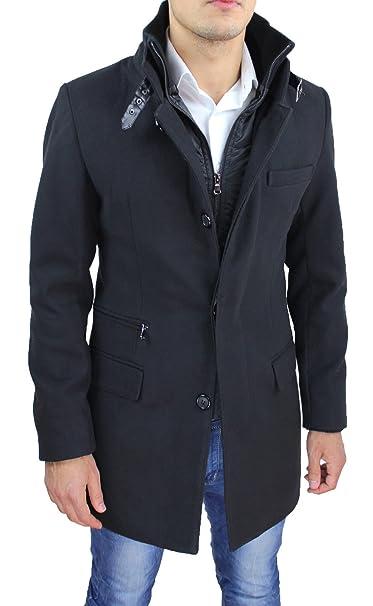 3ad5b31eb5112 Cappotto Uomo Nero Sartoriale Slim Fit Giaccone Soprabito Invernale Casual  Elegante con Gilet Interno  Amazon.it  Abbigliamento