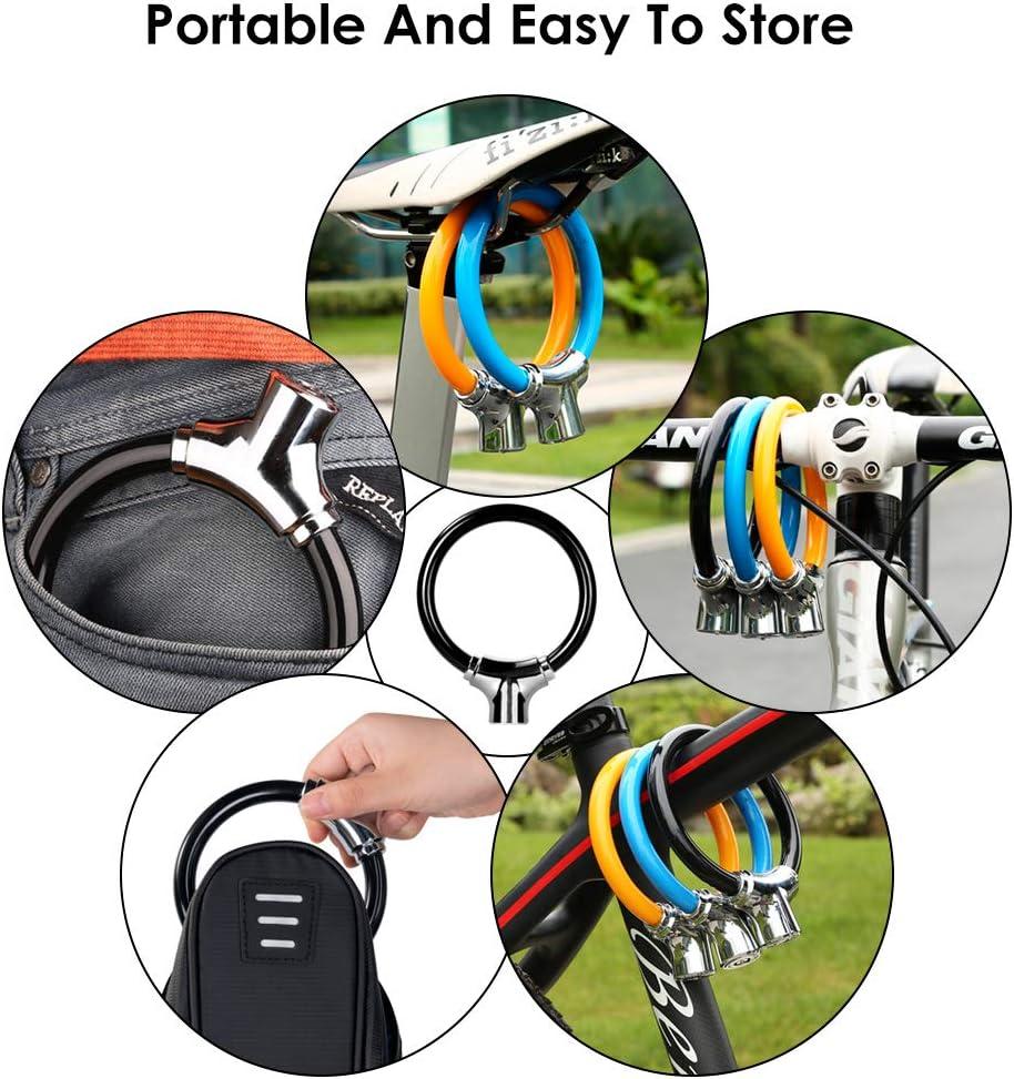 MTB Rennrad Mini-Ring tragbare Fahrradschl/össer WOTOW Fahrradrahmenschloss Fahrrad f/ür Radfahren 12 mm Stahl-Kabelschloss wasserdicht strapazierf/ähig Motorrad mit 2 Schl/üsseln