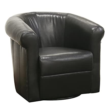 Baxton Studio Julian Black Faux Leather Club Chair With 360 Degree Swivel