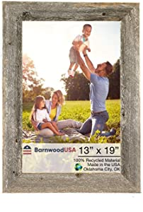 BarnwoodUSA | Farmhouse 13x19 Picture Frame | 1 1/2 inch Molding | 100% Reclaimed Wood | Rustic | Natural Weathered Gray