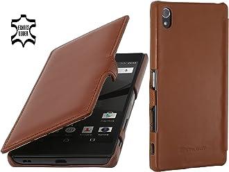 StilGut Book Type Case con Clip, Custodia in Vera Pelle a Libro per Sony Xperia Z5 Premium & Sony Xperia Dual Premium, Cognac