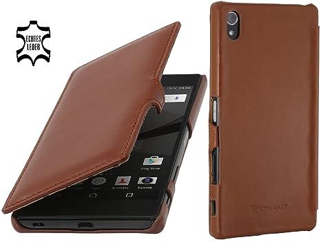 StilGut Book Type Case mit Clip, Hülle aus Leder kompatibel mit Sony Xperia Z5 Premium / Z5 Dual Premium, Cognac