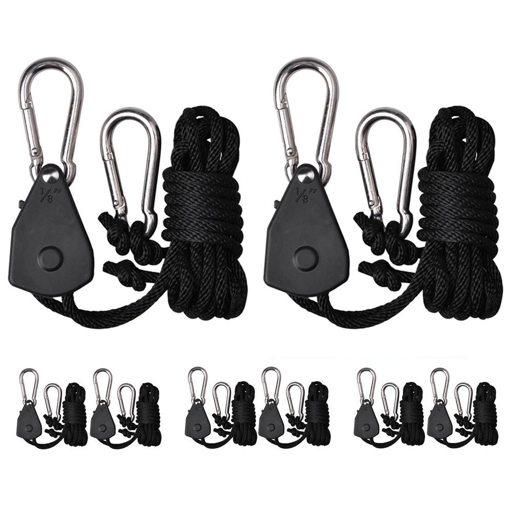 Zuggear 4 Pairs 1/8 Inch Heavy Duty Rope Ratchet Hangers, Light Ratchets Tie Down, Indoor Gardening Ratchet Ropes for Carbon Filters, Ventilation Equipment Pulley System Rope Clip Hangers