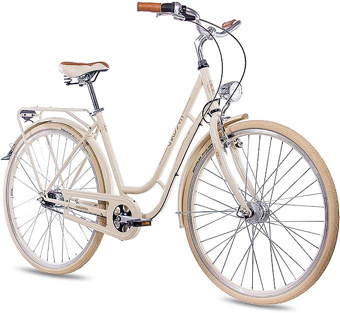 Bicicleta de paseo Chrisson para mujer, 71,12 cm, estilo vintage con 7G Shimano Nexus, color crema: Amazon.es: Deportes y aire libre