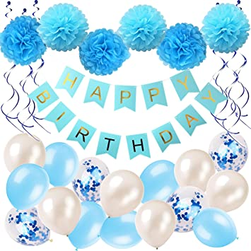 Cumpleaños Decoración Chica Niño Azul Happy Birthday Guirnalda de Pompones Globos Espirales Cumpleaños Decoración Set