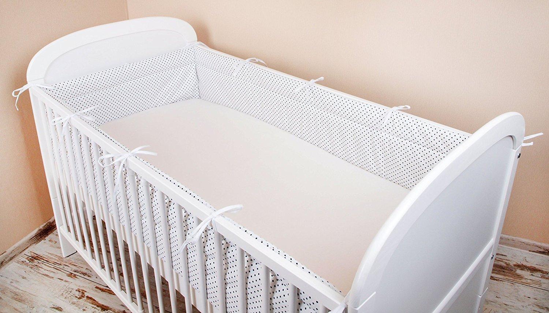 360/x 30/cm Paracolpi lettino nido protezione della testa paracolpi 420/x 30/cm 180/x 30/cm letto paraspigoli paracolpi Baby letto caratteristiche a pois bianco