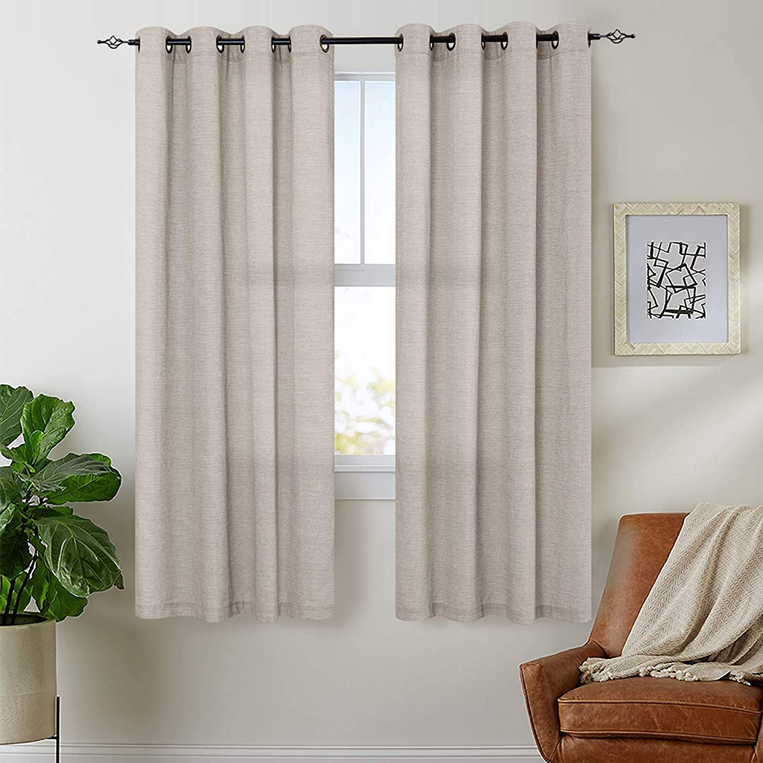 jinchan Linen Textured Curtains for Living Room Grommet Top Window Treatment Set for Bedroom 2 Panels 63 inches Long Gray