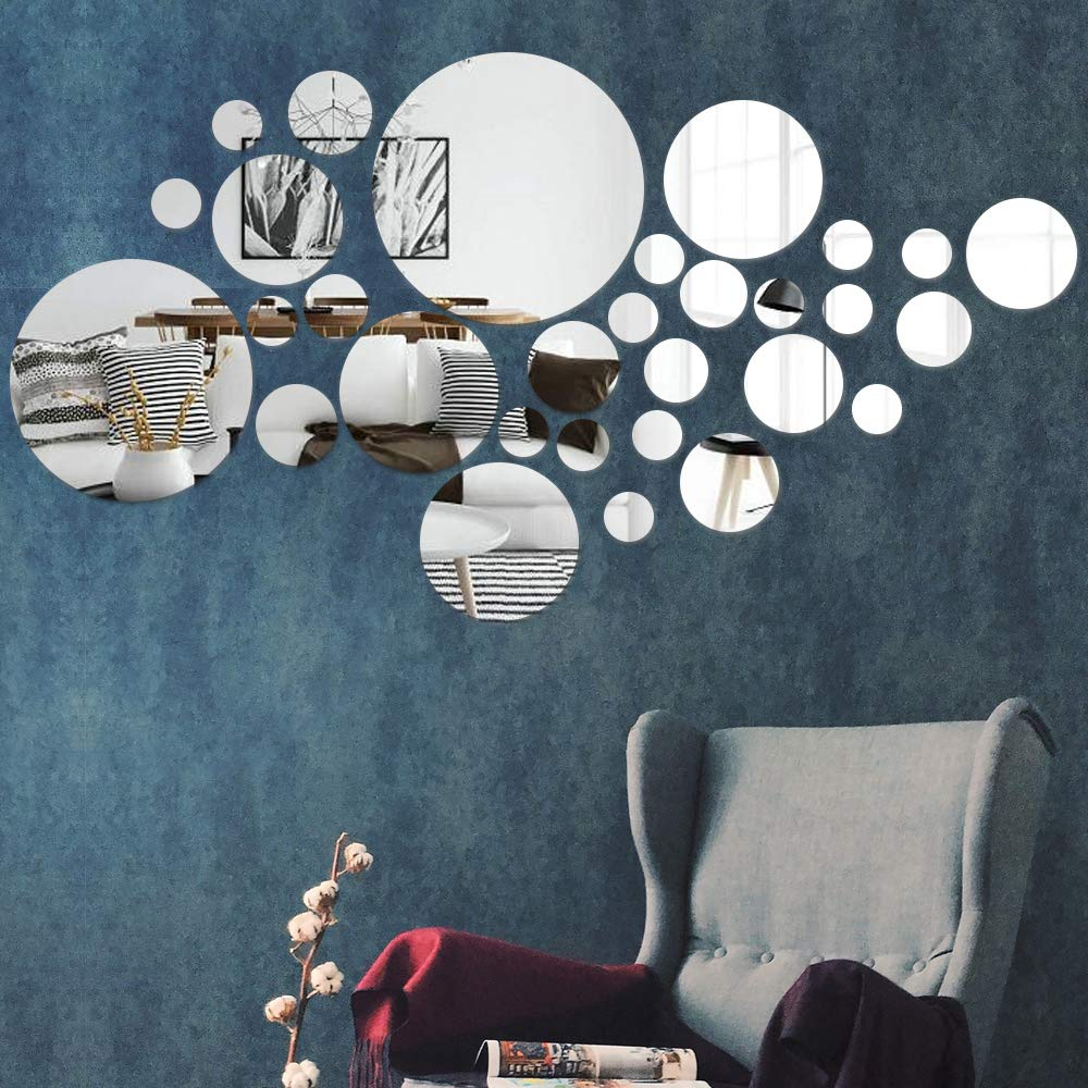COCIVIVRE Wall Sticker, Circle DIY Wall Stickers Wall Decoration 30pcs, Reflective Removable Adhesive Acrylic Wall Sticker Decal for Room Wall Bedroom Tiles Stick on Mirror Aesthetic Decor, Silver