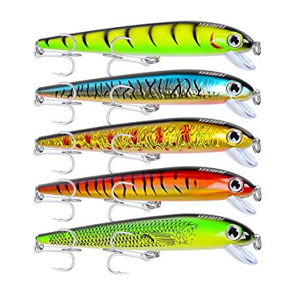 Proberos Fishing Lures Minnow Jerkbait Sinking Lure Set Hard Baits  Swimbaits Crankbait for Bass Perch Catfish Musky Tackle with Treble Hooks
