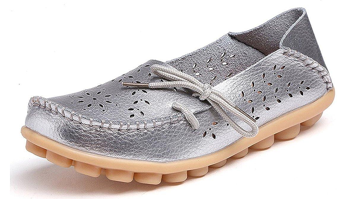 Eagsouni Damen Mokassins Bootsschuhe Leder Loafers Freizeit Schuhe Flache Fahren Halbschuhe Slippers