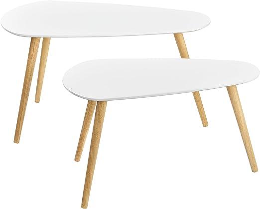 en.casa] Set de 2 mesas de Centro Blanco - Mesa Auxiliar: Amazon ...