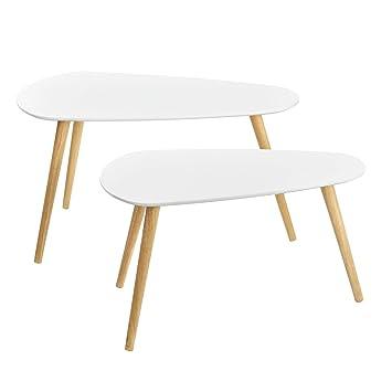 ba7c6a7b6 [en.casa]®] Set de 2 mesas de Centro Blanco - Mesa Auxiliar: Amazon.es:  Hogar