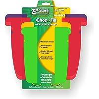 Zip n Store - Chop n Fill - Kitchen Plastic Cutting Chopping Mat Board - 2 Quart + 2 Gallon Pack