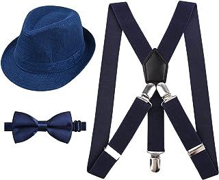 Alizeal Kids Verstellbare Hosenträger, Fliege und Hut Set, Navy