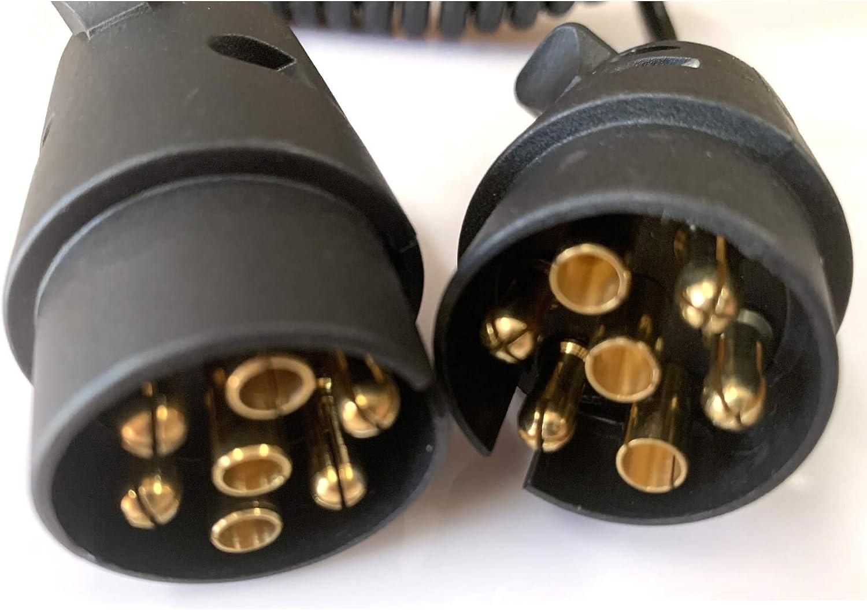 JVJ Anh/änger Verl/ängerungskabel Spiralkabel Adapter 2 Meter 7 Polig Anh/ängerkabel Auto Anh/änger weniger 12V
