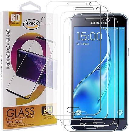 Guran 4 Paquete Cristal Templado Protector de Pantalla para Samsung Galaxy J3 2016 J310 / J3 2015 Smartphone 9H Dureza Anti-Ara?azos Alta Definicion Transparente Película: Amazon.es: Electrónica
