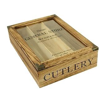 De madera de estilo Vintage bandeja de cajón para cubiertos tablero de cristal: Amazon.es: Hogar