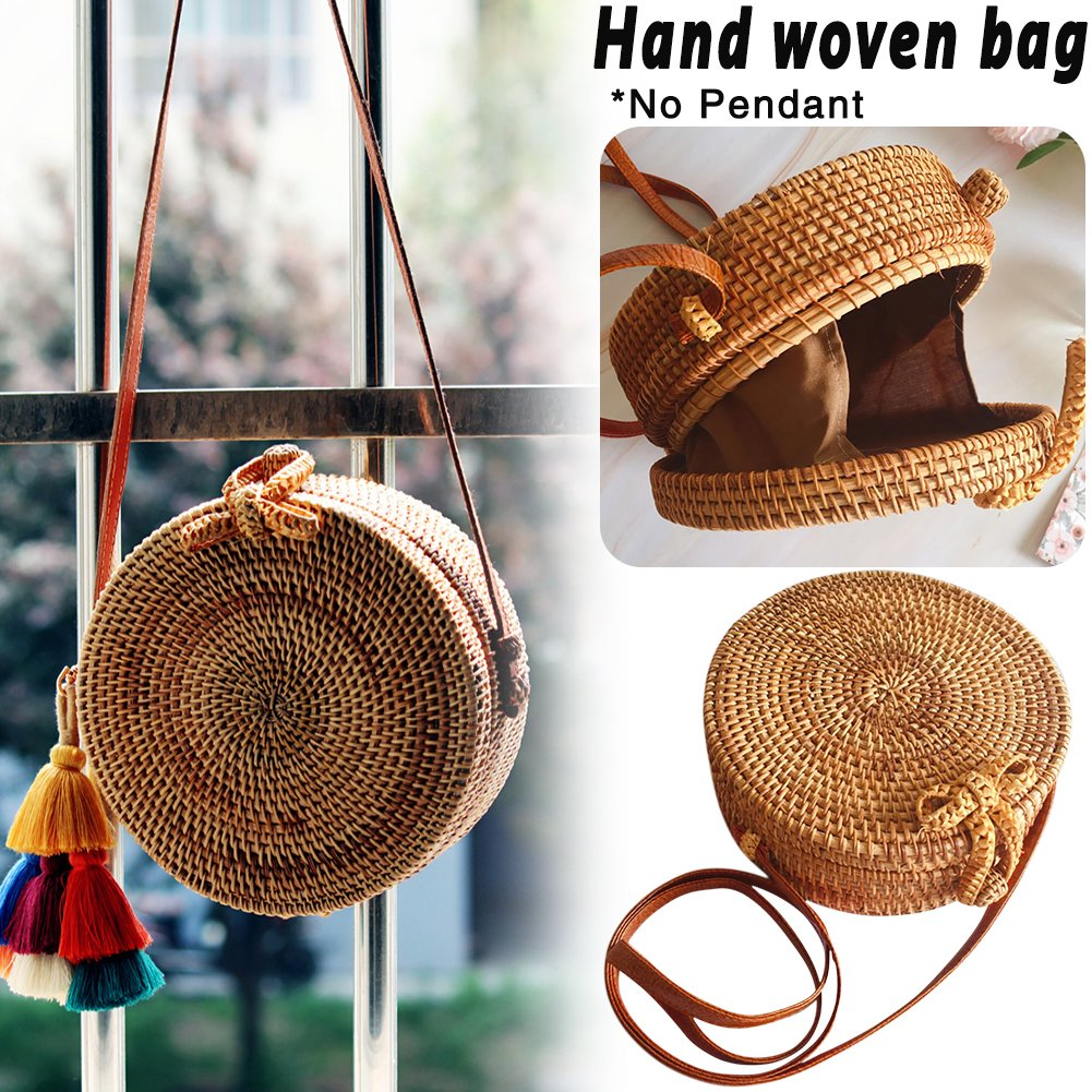 cheerfullus Women Bohemia Round Crossbody Bag Weave Rattan Shoulder Bag Retro Fashion Summer Beach Handbags for Women