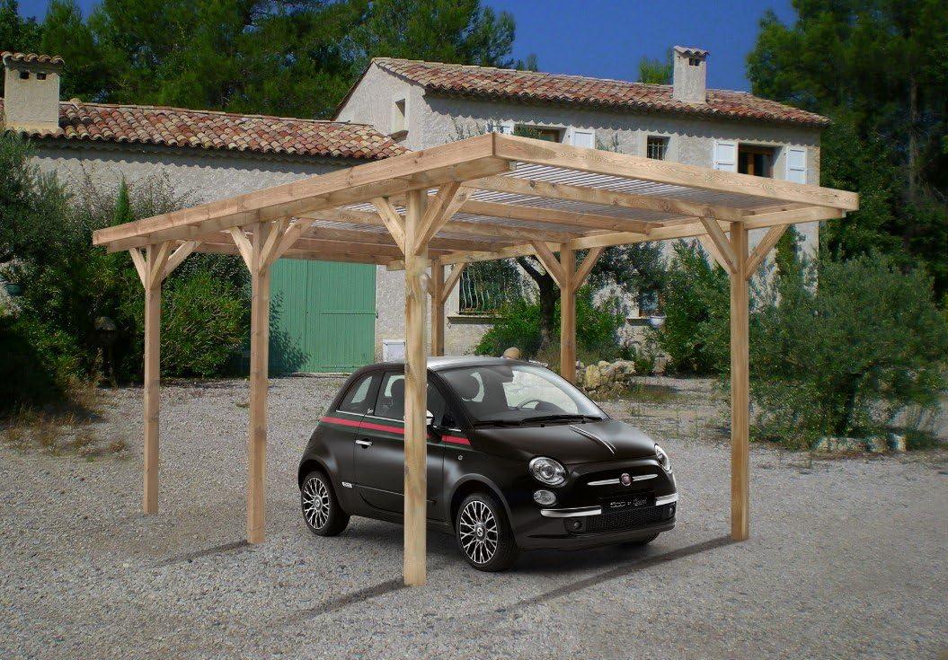 Carport madera simple Max con protectora PVC 304 x 512 cm: Amazon ...