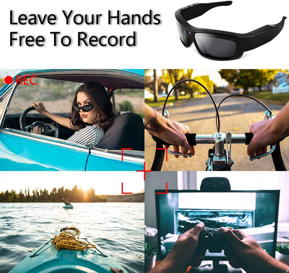 1080P HD Spy Sunglasses Camera Eyewear Action Camera Video Recorder with UV400 Polarized Lenses Support Photographing 16GB Memory Card Built-in