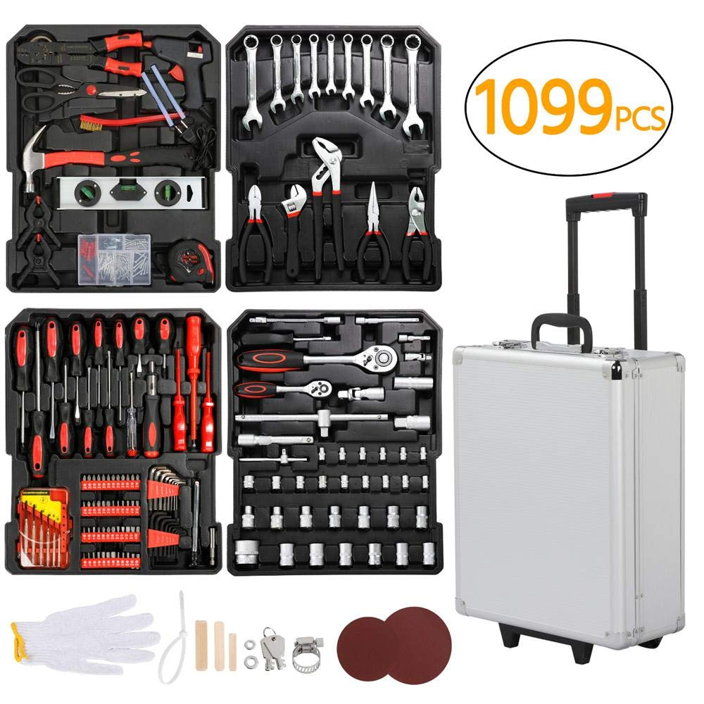 go2buy Tool Box with Tools Mechanic Travel Tool Box Tool Kit Wrenches Socket Aluminum Trolley Tool Box Organizer w/ 1099 Pieces Tools